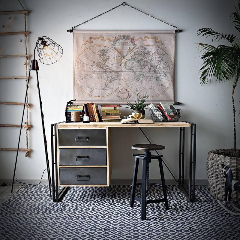 Biurko z metalowymi szufladami STEEL WOOD