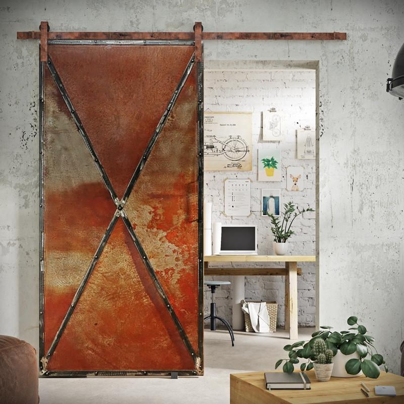 Drzwi przesuwne metalowe RUSTY METAL