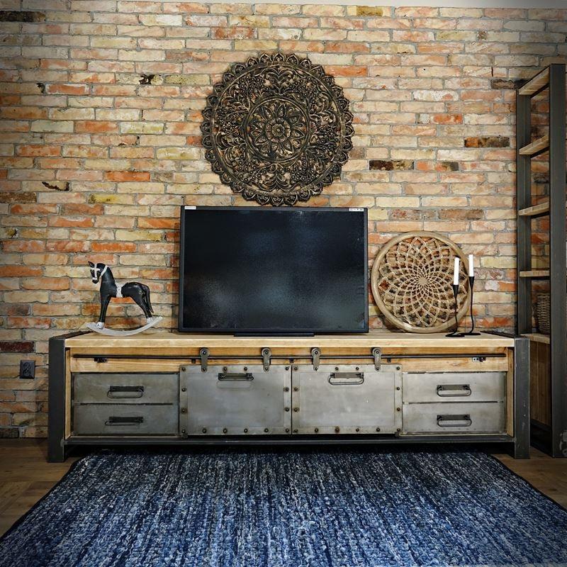 Duża loftowa szafka RTV z metalowymi szufladami FACTORY 2
