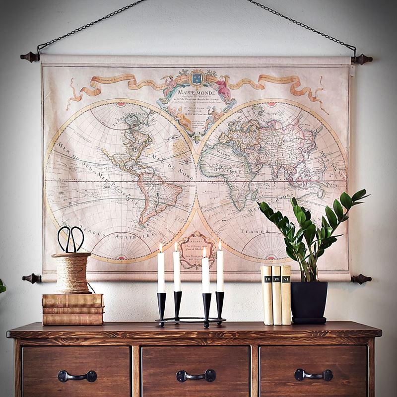 Mapa świata ścienna DWIE PÓŁKULE
