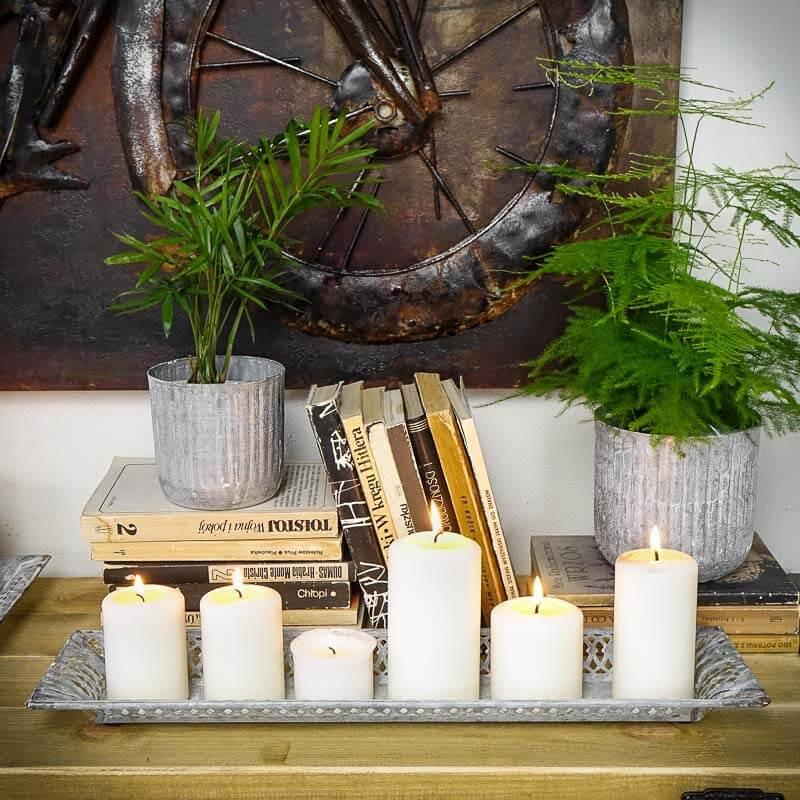 metalowa taca na świece