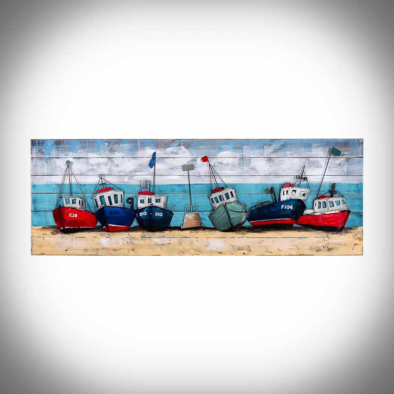 Obraz 3d statki na plaży