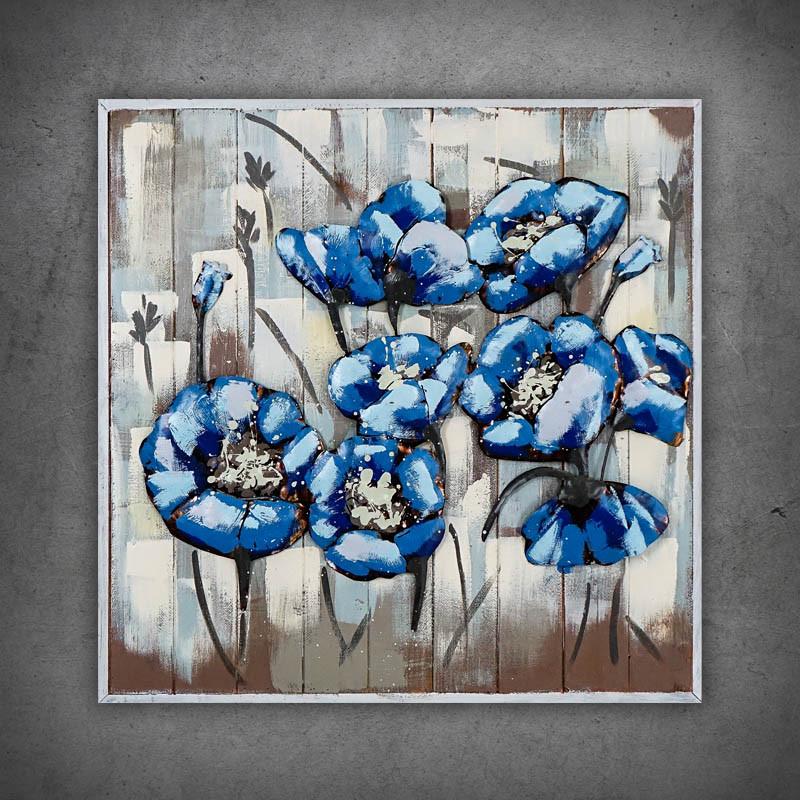 obraz 3d kwiaty niebieskie