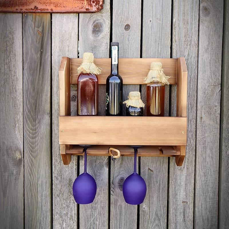 drewniana półka na wino z kieliszkami