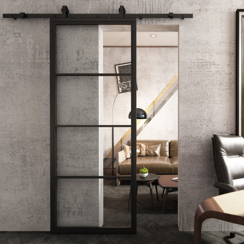 transparentne przesuwne drzwi stalowe