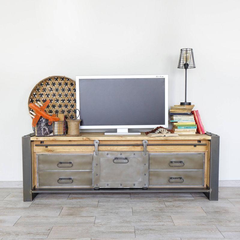 szafka pod telewizor loftowa metalowa
