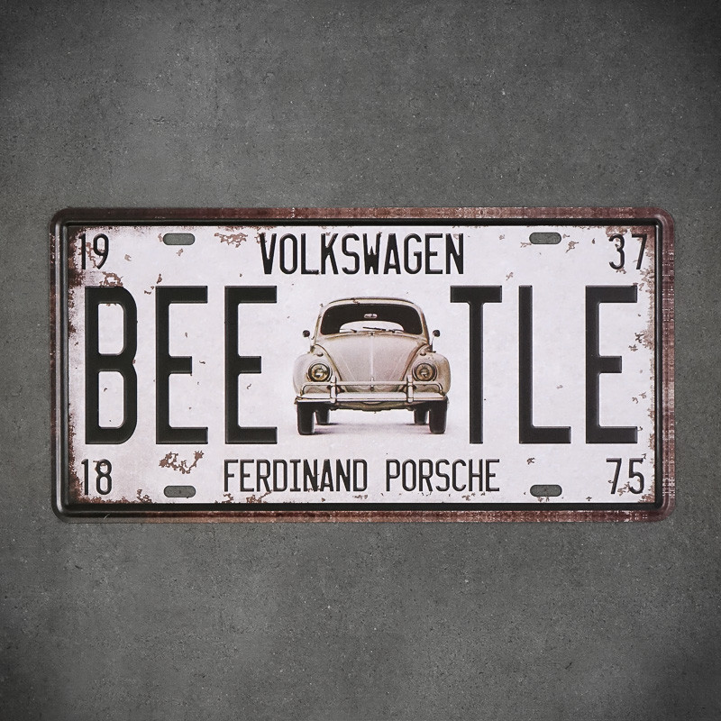 vintage tabliczki z autami