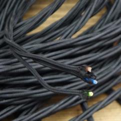 Kabel do lampy pleciony 3 żyłowy czarny