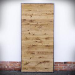 drzwi drewniane w ramie stalowej przesuwne