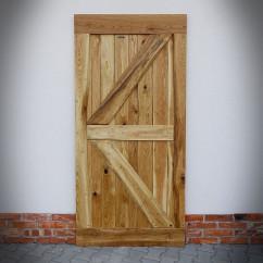 Retro drzwi dębowe FLINSTON z gwoździami