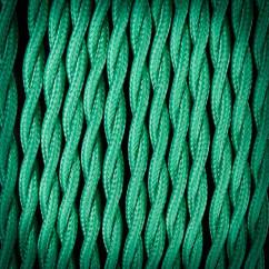 Kabel przewód elektryczny w oplocie poliestrowym 02 ZIELONY 2x0,75