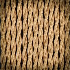 Kabel przewód elektryczny w oplocie poliestrowym 02 BRĄZ JASNY 2x0,75