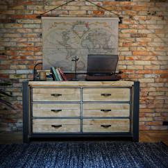 Industrialna komoda z drewnianymi szufladami FACTORY