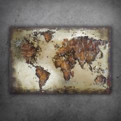 Obraz metalowy 3D LOFT MAPA ŚWIATA 3