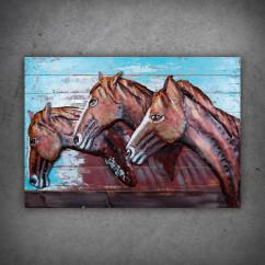 konie obraz z metalu i drewna