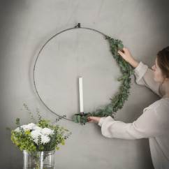 Świecznik wiszący stalowy okrągły PIERŚCIEŃ