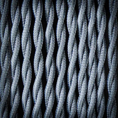 Kabel przewód elektryczny w oplocie poliestrowym 02 SZARY CIEMNY 2x0,75