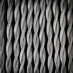 Kabel przewód elektryczny w oplocie poliestrowym skręcany 02 SZARY JASNY 2x0,75