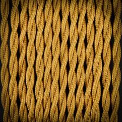 Kabel przewód elektryczny w oplocie poliestrowym 02 BRĄZ ANTYCZNY 2x0,75