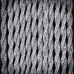 Kabel przewód elektryczny w oplocie lnianym 02 SZARY 2x0,75