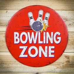 Retro tabliczka okragła BOWLING ZONE