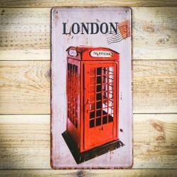 Metalowa tabliczka retro BUDKA TELEFONICZNA Z LONDYNU 2