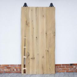 drzwi przesuwne dębowe surowe z prowadnicą