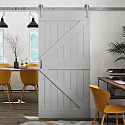 drzwi sosnowe przesuwne w kolorze szarym