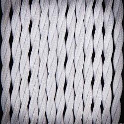 Przewód, kabel elektryczny w oplocie poliestrowym skręcany 2x0,75 Biały