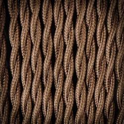 Przewód, kabel elektryczny w oplocie poliestrowym skręcany 2x0,75 Brąz Ciemny