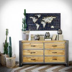 komoda metalowa z drewnianymi szufladami