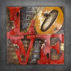 Obraz metalowy 3D LOFT SCRIPT LOVE