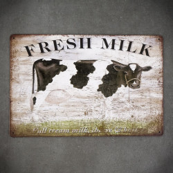 metalowa tabliczka świeże mleko