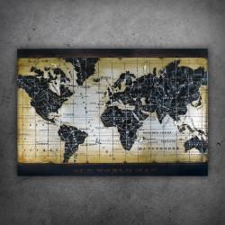 Obraz 3D metalowy Mapa Świata