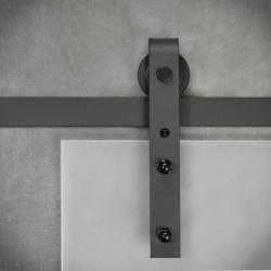 Prowadnica ścienna do drzwi jednoskrzydłowych szklanych czarna OLD GLASS