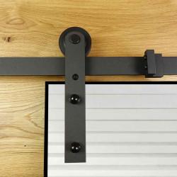 Prowadnica drzwi przesuwnych szklanych czarna ROKA GLASS