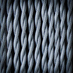 Przewód, kabel elektryczny w oplocie poliestrowym skręcany 2x0,75 Szary Ciemny
