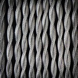 Przewód, kabel elektryczny w oplocie poliestrowym skręcany 2x0,75 Szary Jasny