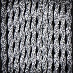Przewód, kabel elektryczny w oplocie lnianym skręcany 2x0,75 Szary
