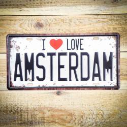 I LOVE AMSTERDAM tabliczka ozdobna