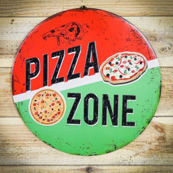 Retro tabliczka okragła PIZZA ZONE