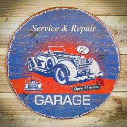 Retro tabliczka okragła GARAGE 3