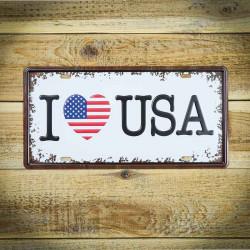 Metalowa tabliczka retro I LOVE USA