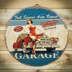 Retro tabliczka okragła GARAGE 2