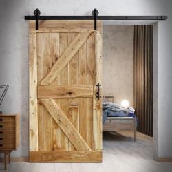 Drzwi przesuwne drewniane dębowe FLINSTON z gwoździami