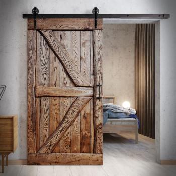 Rustykalne dębowe drzwi przesuwne