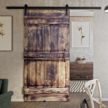 Drzwi przesuwne drewniane jesionowe OPALANE