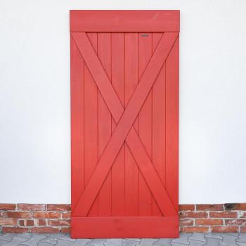 Drzwi przesuwne drewniane sosnowe FOREST - X CZERWONE - WYPRZEDAŻ