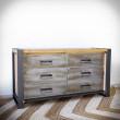 drewniana komoda z metalowym frontem