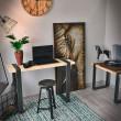 metal i drewno - biurko robocze
